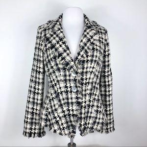 Anne Fontaine Blazer Herringbone Textured Jacket